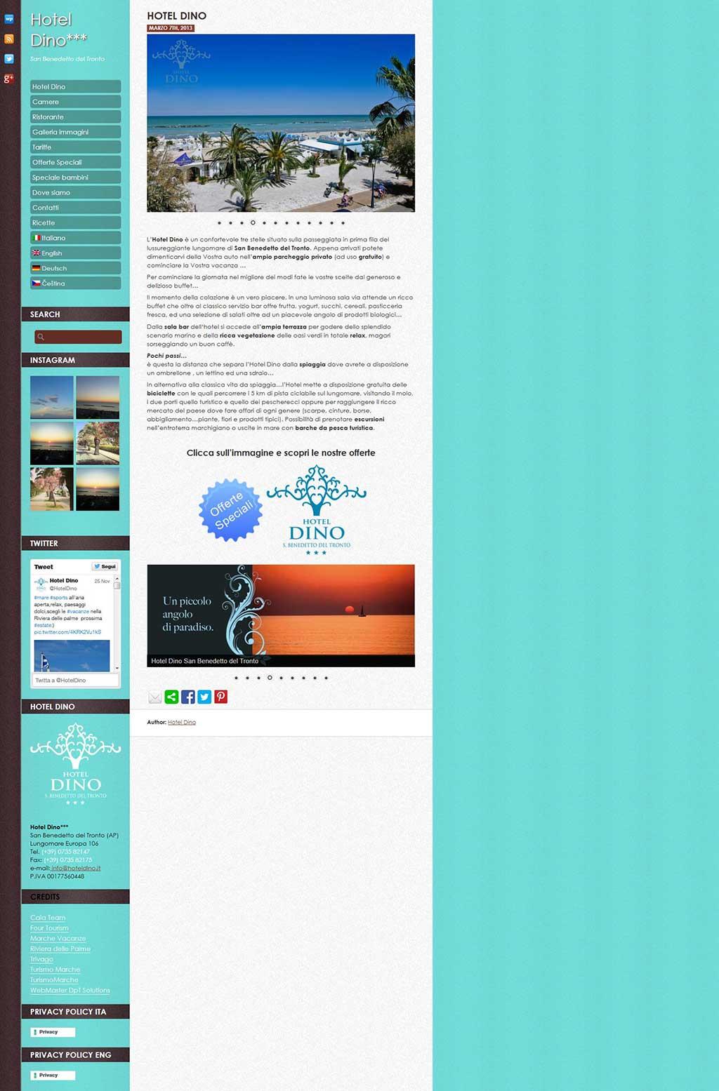 Hotel Dino Sito web Multilingua