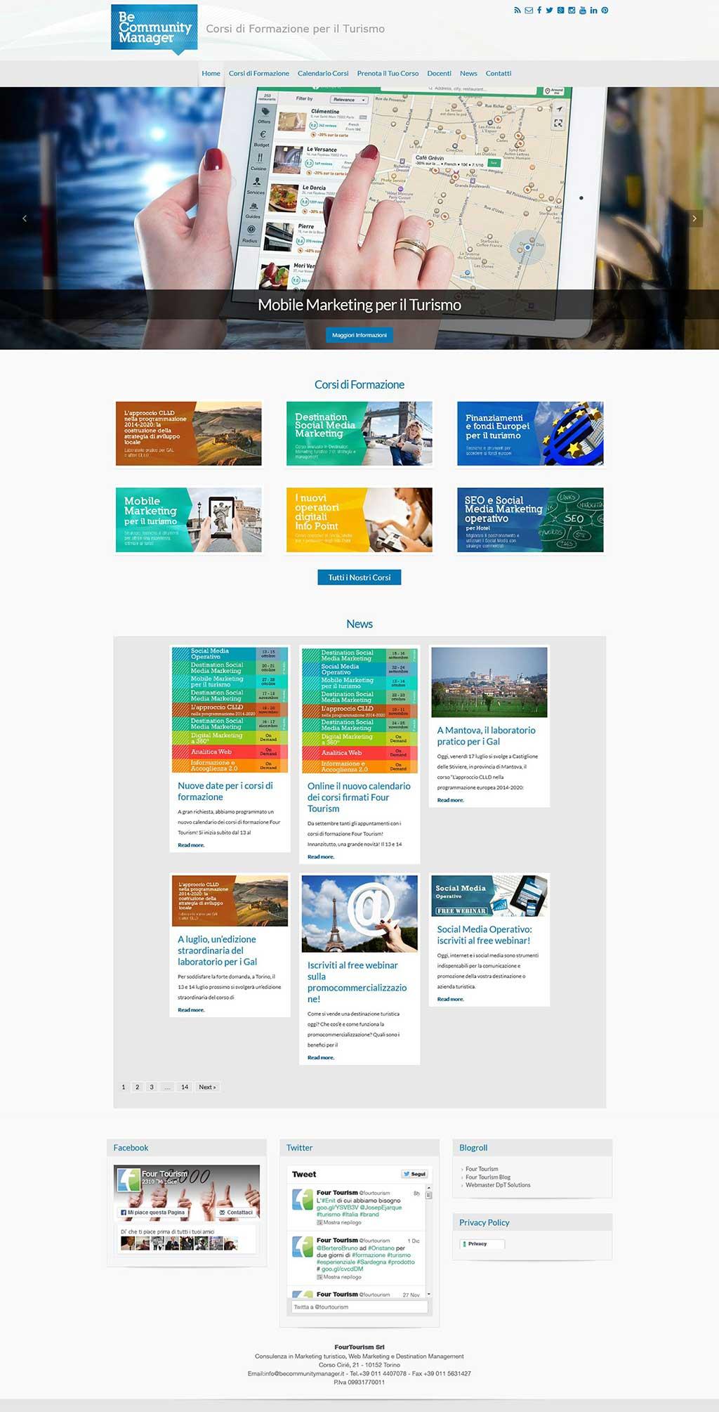 Be Community Manager sito Corsi di Formazione Four Tourism