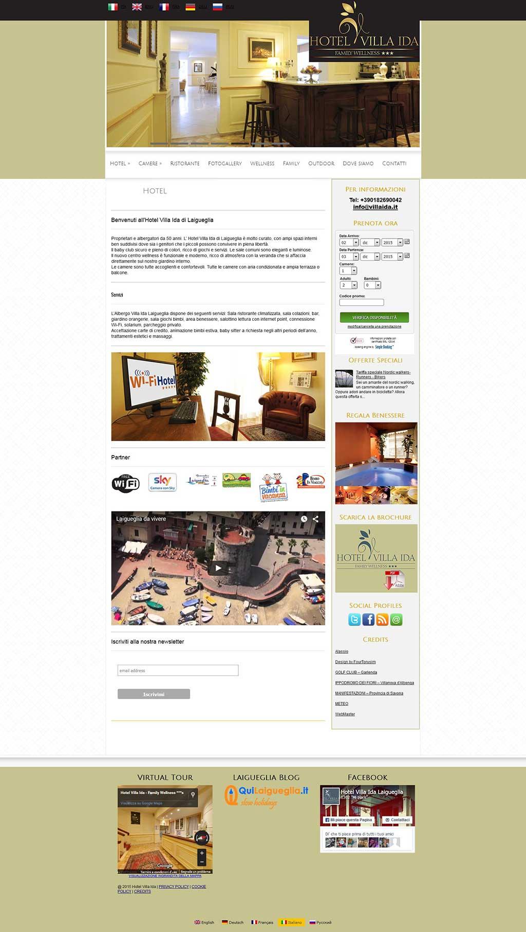 Hotel 3 stelle Villa Ida sito multilingua