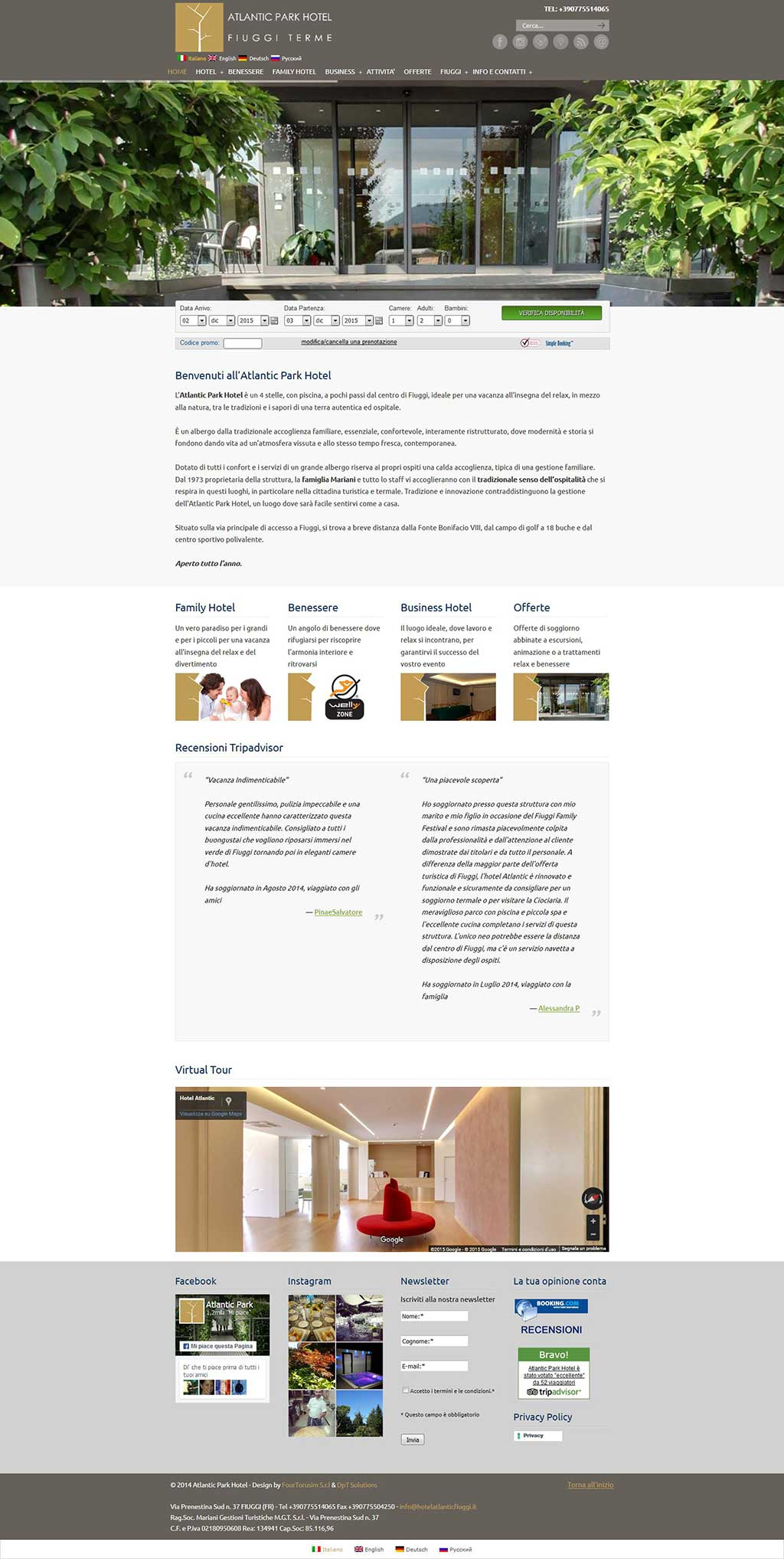Sito web multilingua Hotel Atlantic Fiuggi