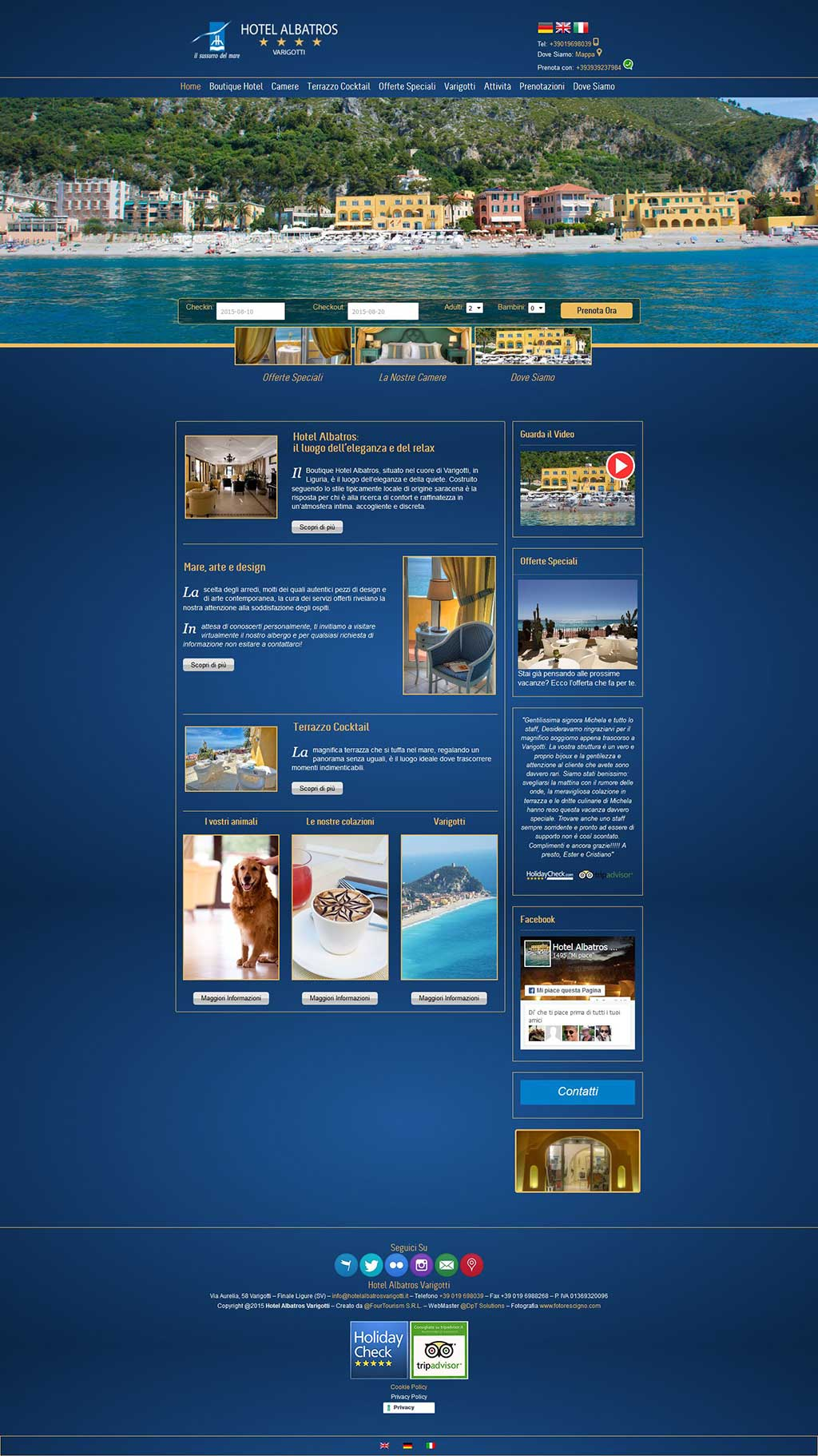 Hotel Albatros sito multilingua